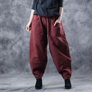 Elastic Waist Red Quilted Pants Womans Harem Trousers