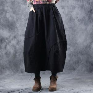 Cotton Linen Quilted Maxi Skirt Casual Flare Skirt