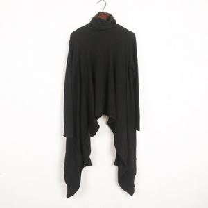 Casual Style Knitting Oversized T-shirt Black Turtleneck Pullover