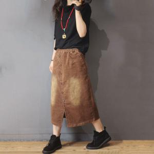 OL Style Corduroy Button Down Skirt Front Slits Ripped Maxi Skirt