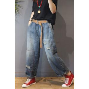 Street Style Baggy Ripped Jeans Color Fading Wide Leg BF Jeans