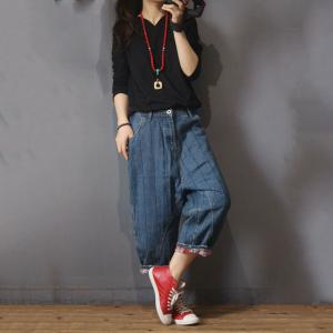Casual Style Vertical Striped Baggy Jeans Thick Denim  Pants