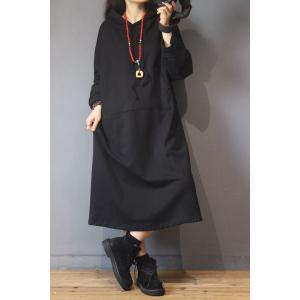 Solid Color Patched Pockets Korean Dress Cotton Loose Hoodie Dress