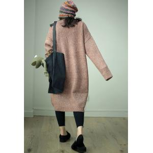 Solid Color Woolen Sweater Dress Long Oversized Sweater