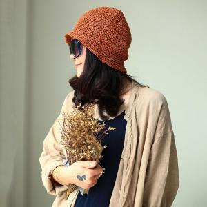 Cotton Linen Knitting Hat Womans Bucket Hat
