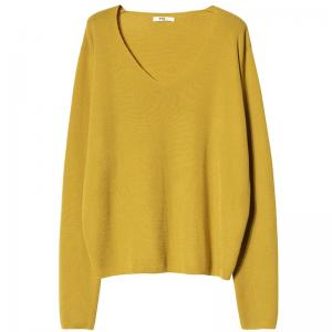Casual Style Wool V-Neck Sweater Korean Oversized T-shirt