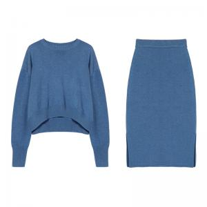 Oversized Korean Crew Neck Sweater with Slits Maxi Skirt