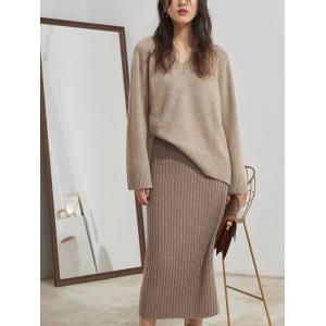 Soft Comfy Camel Maxi Skirt Slim-Fitting Elegant A-Line Skirt