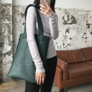 Two-Faced Lamb Wool Shoulder Bag Casual PU Leather Bag
