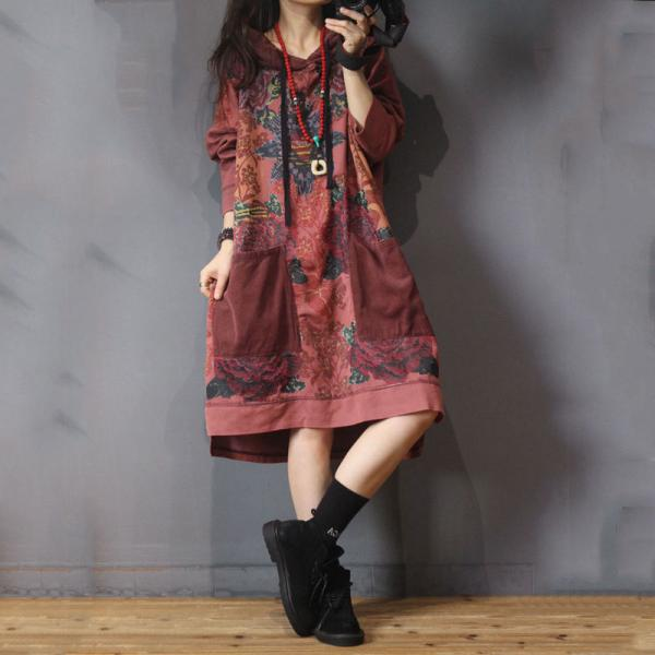 Ethnic Style Cotton Hooded Dress Oversized Knee Length Dress