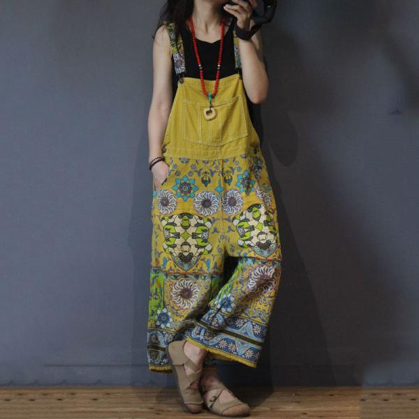 Ethnic Printed Wide Leg Jumpsuits Vintage Plus Size Cotton Overalls
