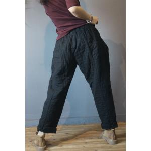 Vintage Chic Quilted Harem Pants Womans Cotton Trousers