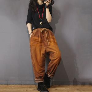 Colors Gradient Corduroy Pants Trendy Baggy Harem Pants