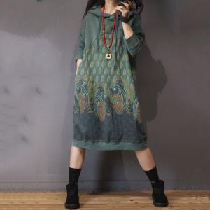 Large Size Ethnic Hoodie Dress Cotton Vintage Dress