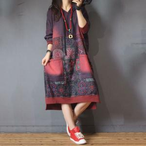 Folk Printing Large Hoodie Cotton Casual Hooded Dress