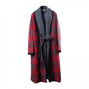 Classical Red Checkered Coat Plus Size Woolen Wrap Coat