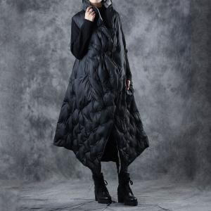 Double-Faced Black Puffer Coat Asymmetric Quilted Vest