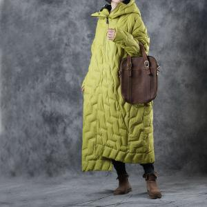 Large Size Designer Puffer Coat  Yellow Cotton Padded Overcoat