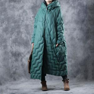 Wave Patterns Womans Hooded Coat Quilted Puffer Coat