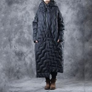 Front Zip Designer Black Coat Fashion Puffer Coat for Woman