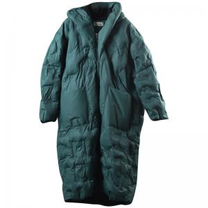 Fashion Long Hooded Coat Front Pockets Large Winter Puffer Coat