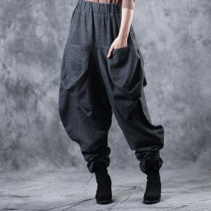 Loose-Fitting Designer Harem Pants Womans Black Balloon Pants