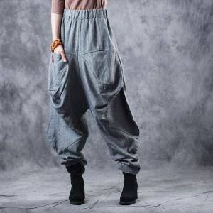 OL Style Baggy Flare Pants Fashion Gray Balloon Trousers