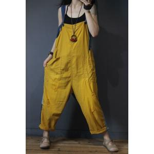 Contrast Color Back Printed Jumpsuits Loose Cotton Dungarees