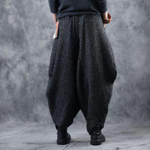 Vintage Thick Knitting Yoga Pants Plus Size Harem Pants for Woman