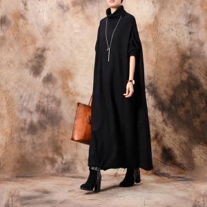 Plus Size Turtleneck Sweater Dress Black Long Knitting Dress
