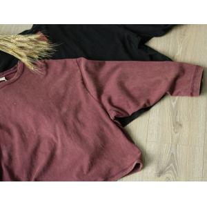 Patchwork Sleeves Red T-shirt Color Fading Loose Cotton Tee