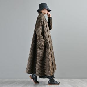 Chinese Vintage Pankous Loose Woolen Coat Flared Checkered Coat