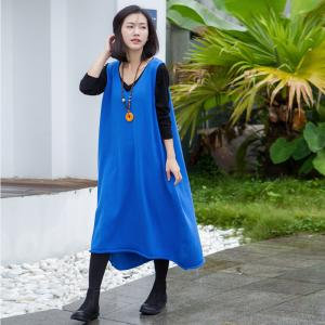 V-Neck Comfy Cotton Knitwear Plus Size Casual Sundress