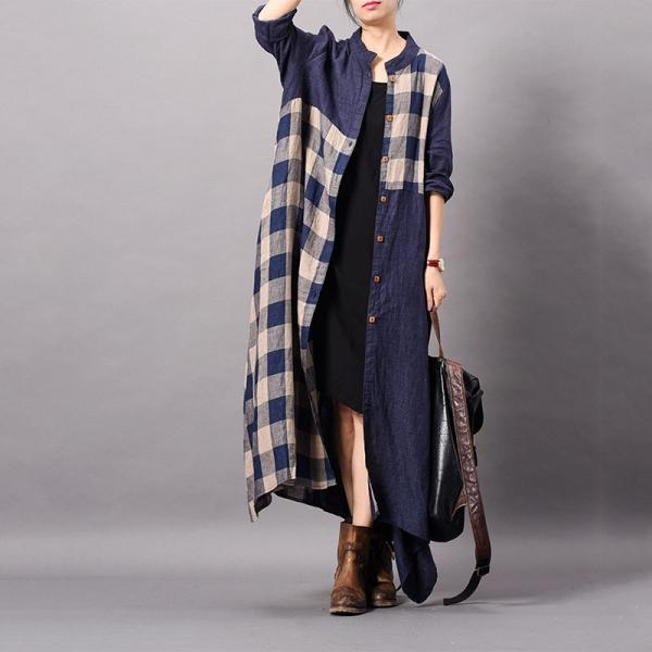 Asymmetrical Cotton Linen Plaids Shirt Dress Flared Oversized Cardigan