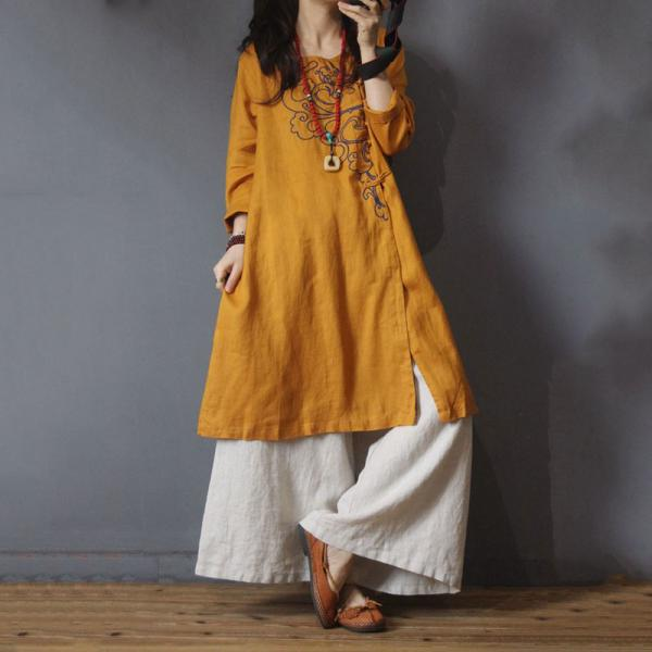 Chinese Buttons Big Slits Dress Vintage Linen Embroidered Knee Length Dress