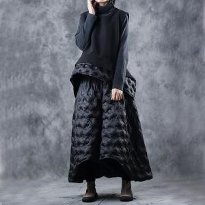 Fashion Loose Black Vest with Fluffy Quilted Maxi Pants