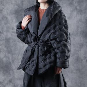 be4b2b9b74e59 Fluffy Plus Size Short Wrap Coat Black Hooded Puffer Jacket - Morimiss.com