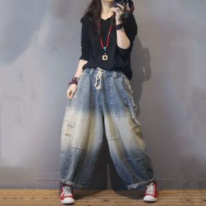 Color Fading Harem Jeans Baggy Korean Ripped Jeans for Woman