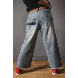 Straight-Leg Blue Contrast Baggy Jeans Womans Denim Bootcuts