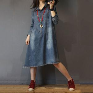 Raw Hem Denim Shirt Dress Loose Long Sleeve Jean Dress