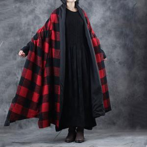 Red Checkered Woolen Coat Plus Size Cape Coat for Woman