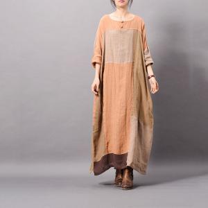 d416f126782 Beautiful Color Blocks Plus Size Linen Dress Asymmetrical Vintage Caftan