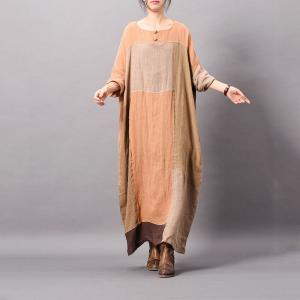 Beautiful Color Blocks Plus Size Linen Dress Asymmetrical Vintage Caftan