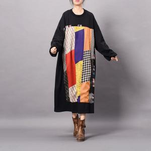 Colorful Geometric Patterns Cotton Loose Dress Thick Knee Length Dress