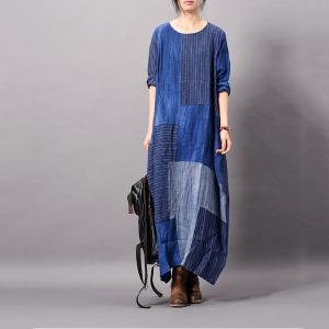 Blue Contrast Cotton Linen Dress Loose Flared Striped Dress