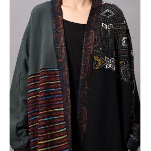 Ethnic Pattern Vintage Cardigan Bat Sleeve Plus Size Cotton Outerwear