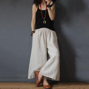 Simple Design Casual Wide Legs Organic Linen Long Gaucho Pants