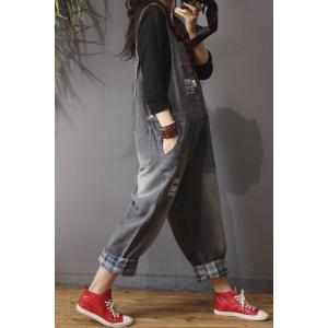 Letter Prints Baggy Jean Jumpsuits Loose Womens Denim Overalls