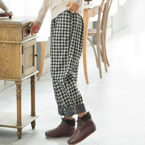Linen Classical Checkered Pants Floral Hem Quilted Bootcuts