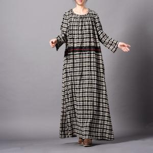 Embroidered Waist Checkered Dress Cotton Linen Loose Caftan